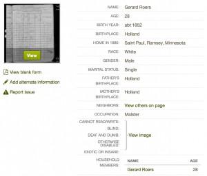 Gerard Roers 1880 census